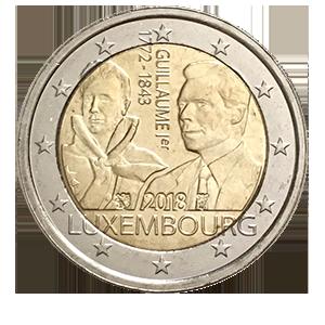 2 евро 2018 года «Люксембург. 175 лет со дня смерти Великого герцога Гийома I»