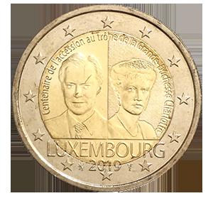 2 евро 2019 года «Люксембург. 100 лет со дня восхождения на престол Великой герцогини Шарлотты»