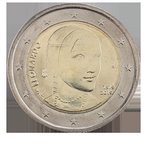 2 евро 2019 года «Италия. 500 лет со дня смерти Леонардо да Винчи»