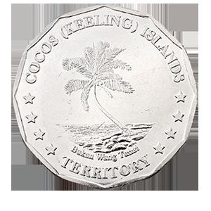 50 центов 2004 года «Кокосовые острова. Рыба - бабочка»