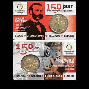 2 евро 2014 года «Бельгия. 150 лет Красному Кресту Бельгии»
